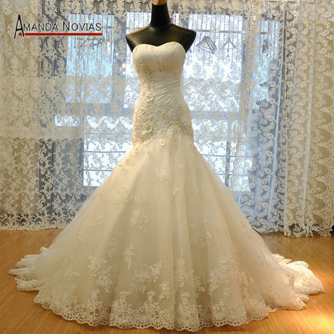 2016 Luxurious Croset Bodice Lace Top Quality Real Sample Mermaid Wedding Dress R-363