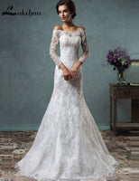 Elegant Long Sleeve Detachable Wedding Dresses Off Shoulder Lace with Removable Skirt