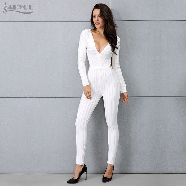 Women Bandage Jumpsuits 2018 Autumn New Arrive White Long Sleeve V-neck Backless Fashion Celebrity Party Runway Jumpsuit