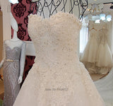 Korean Princess Wedding Dress Plus Size Lace Long Train Sequin Vestidos de Noivas