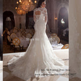 White Long Sleeve Lace Mermaid Corset Back Bridal Gown Fishtail Bandage