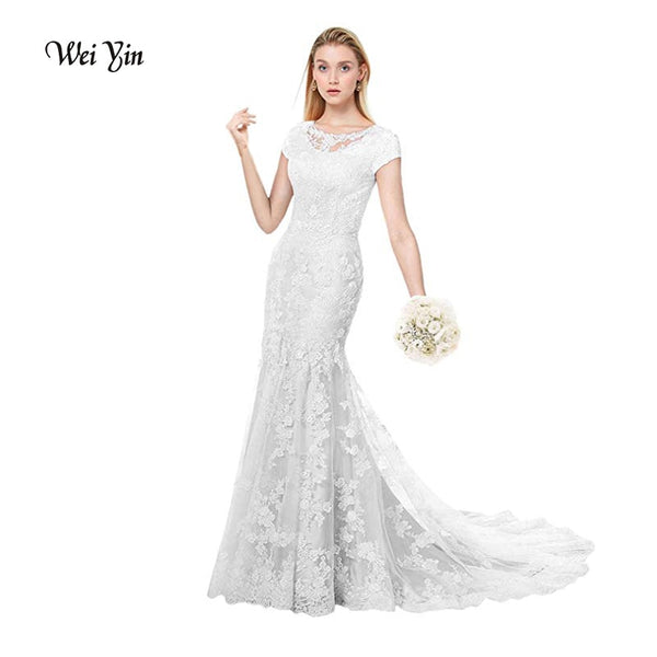 weiyin Robe de Mariage Long Mermaid Wedding Dresses Custom Made 2019 New Fashion Scoop Appliqued Tulle Sleeveless Bridal Gowns