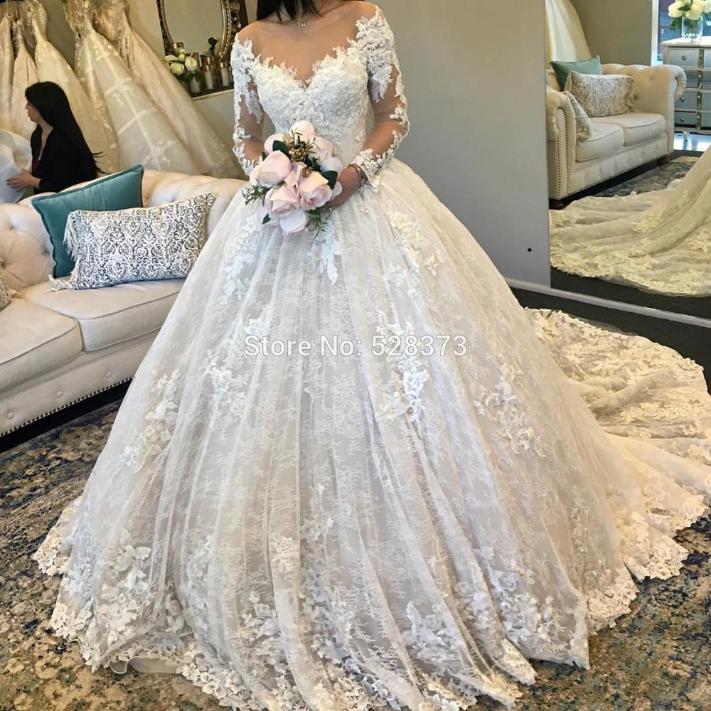 Ynqnfs W61 Swep Train Ball Gown Lace Wedding Dress Long Sleeve