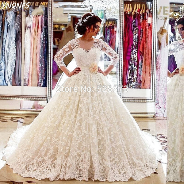 YNQNFS W19 Real Vestido de Noiva Simples Ball Gown Wedding Dresses Sheer Back Long Sleeve Lace Party Gowns Vestidos 2019
