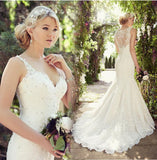 Charming Long Lace Mermaid  Wedding Dresses V Neck Sheer Back Beads Applique