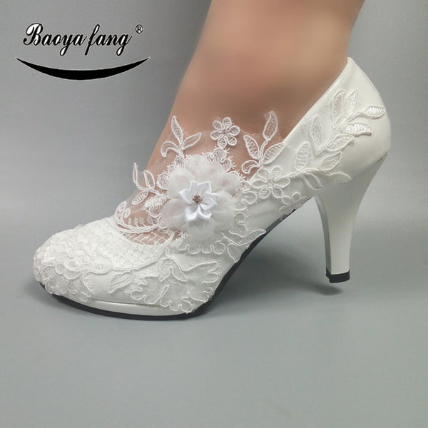 BaoYaFang White Flower Pumps New arrival womens wedding shoes Bride High  heels platform shoes for woman 41ae6fd5dbee