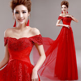 Red Evening Dress Lace Beading Sexy Long Formal Dress