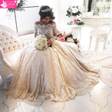 Lace Wedding Dress Luxury Beading Long Sleeve Muslim Wedding Gown With Long Train Off Shoulder