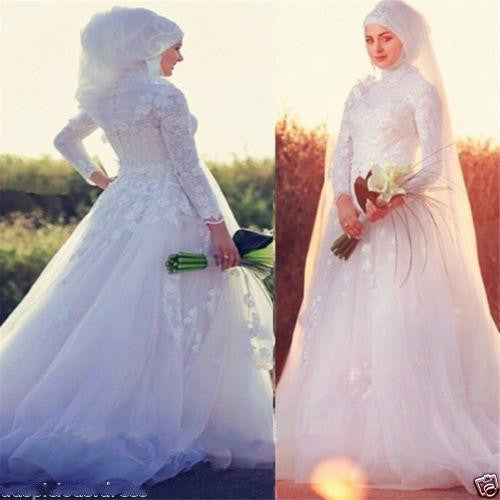 Sensual Looking Fancy Clingy Long Sleeves Wedding Dress High Neck White/Ivory Dubai Muslim Bridal Special Occasion Gowns