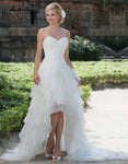 White Wedding Dress Short Front Long Back Lace Beaded Sequin Ruffled robe de mariage