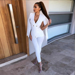 Adyce Celebrity Runway Jumpsuit Women 2018 Black White Deep V-Neck Half Batwing Sleeve Rompers Jumpsuit Sexy Bodycon Bodysuits
