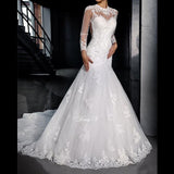 Dressv Fashionable Long Sleeves Mermaid Custom Made Lace High Neck Sheer Hollow Back Plus Size Bridal Gowns