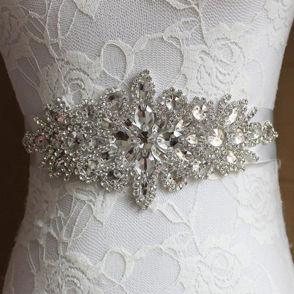 SLBRIDAL Wedding Accessories Crystal Wedding Belt Satin Rhinestone Evening Prom Dress Belt Bridal Ribbon Sash Bridesmaids Women
