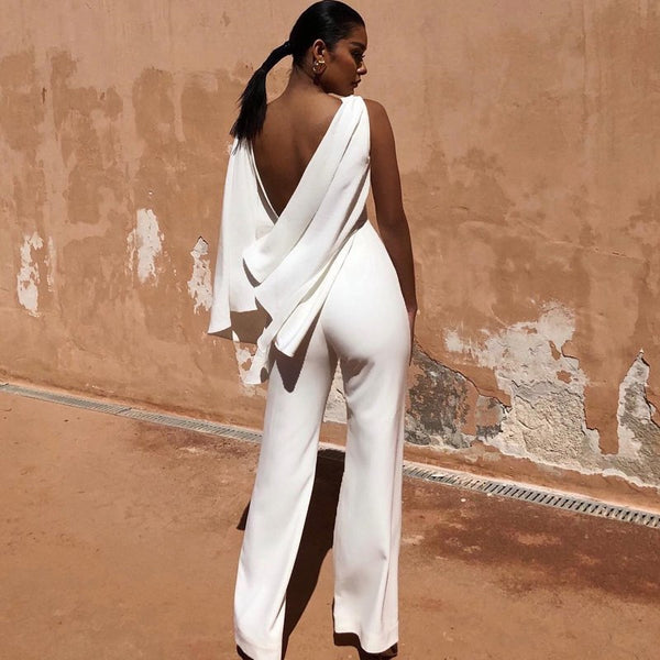 2018 New Fashion White Backless Women Jumspuit Summer Elegant O Neck Bodycon Sleeveless Solid Evening Party Jumpsuits Wholesale
