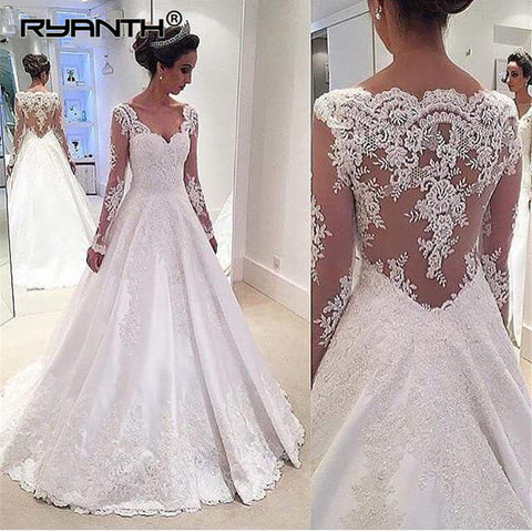 Vestido de Noiva Sexy V Neck Long Sleeve Lace Appliques Plus Size Wedding Dress 2019 Cheap A Line Satin Bridal Wedding Gowns