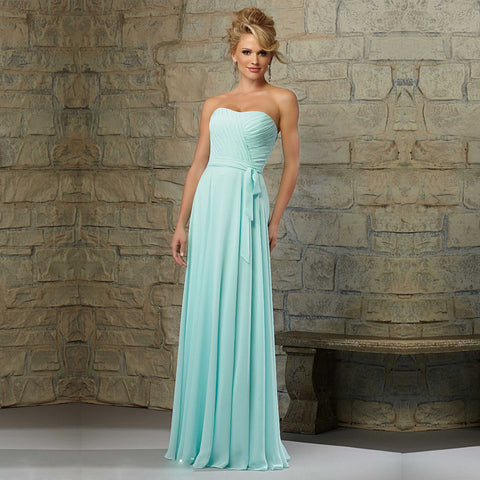 Charming Turquoise Strapless A-Line Draped Floor Length Long Bridesmaid Dresses F378