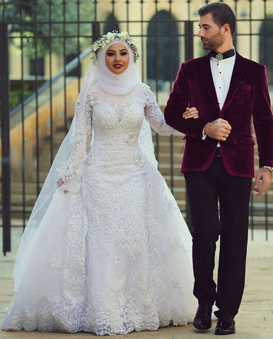 Arab Hijab Saudi Arabia Modest  Muslim Wedding Dress Long Sleeve Lace Beads