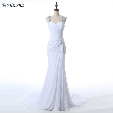 Weilinsha Sexy High Slit Chiffon Wedding Dresses 2019 Halter Neck Vestidos de Novia Delicate Hand Beaded Bridal Gowns