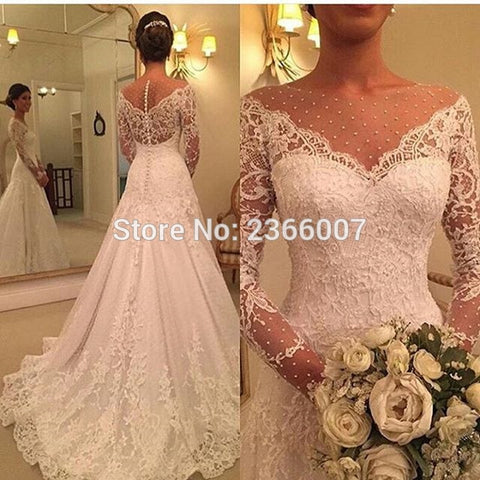 Vestido De Novia Lace A Line Sexy Wedding Dress 2019 Sheer Nude Tulle Long Sleeves Wedding Dresses Robe De Mariage Bridal Gowns