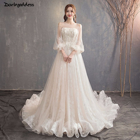 Vestidos De Novia Champagne A Line Wedding Gowns Long Sleeve Wedding Dress Lace See Through Bridal Dresses 2019 Robe De Mariage