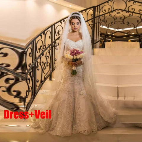 Vestidos de Novia Mermaid Long Wedding Dress 2019 Custom Made V Neck Long Sleeves Wedding Gowns Bridal Dresses Robe De Mariee