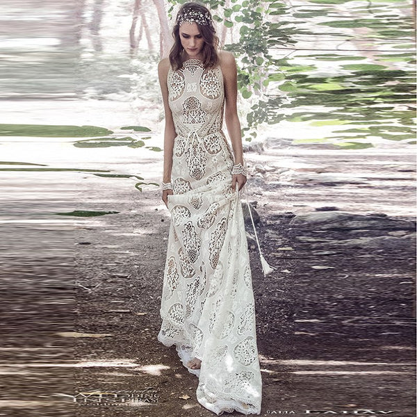 Wedding Dresses Boho Robe De Mariage 2019 Sleeveless Exquisite Lace Chic Wedding Dress Bridal Gowns