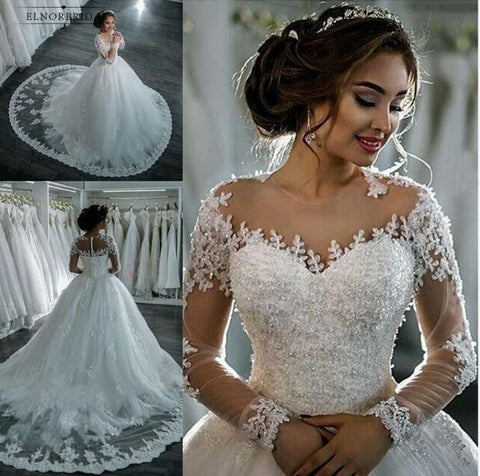 Vintage Ball Gown Wedding Dresses 2019 Long Sleeved Robe De Mariage Sheer Bridal Dress Brautkleid Online Shop Wedding Dress