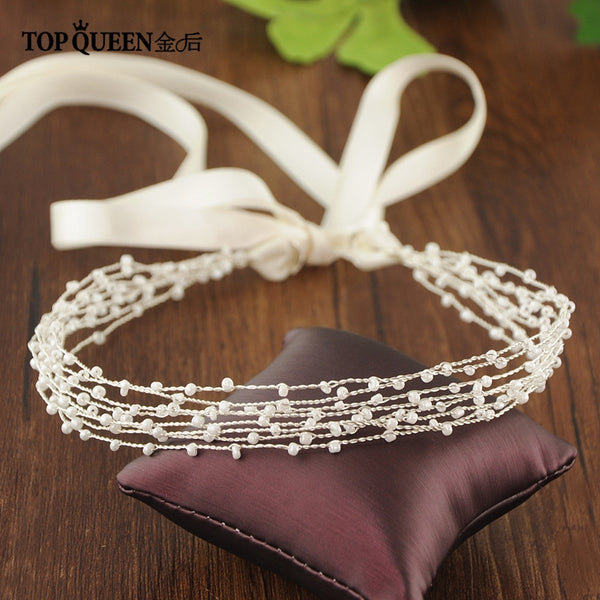 TOPQUEEN HP28 Handmade Vintage Wedding hair vine Headbands Bridal Hair Accessories Pearl Multiple surround braiding Tiara