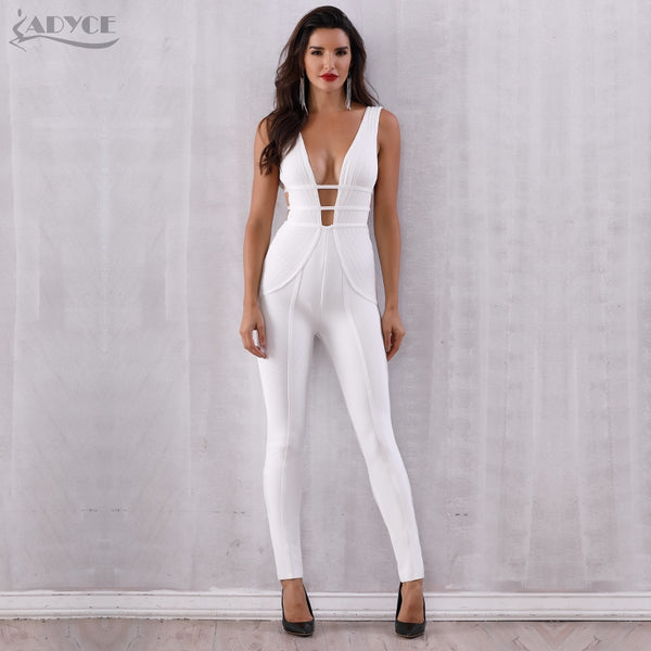 Adyce New Summer Bandage Jumpsuit Rompers Vestidos Verano 2018 Sexy White Sleeveless Deep V Hollow Out Celebrity Party Jumpsuits