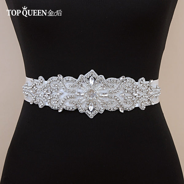 TOPQUEEN S26 Crystal and Rhinestones Gown Dresses belt Accessories Wedding Belts for bride Bride Waistband Bridal Sashes