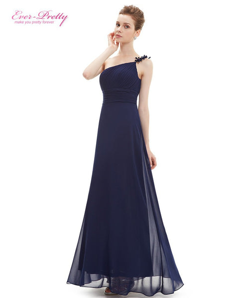Evening Dress Ever-Pretty HE09596 One Shoulder Long Flower Ruffles Chiffon Formal Evening Dresses