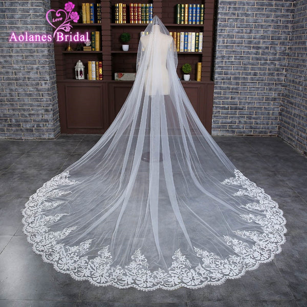 Vestido Noiva Casamento Luxury 3 Meter Long Tulle Wedding Accesories Lace Veil Bridal Veils White Wedding Veil With Bridal 2017