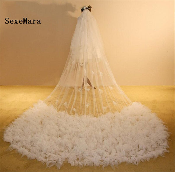 Luxury White Handmade Cathedral Wedding Veil Long Wide Bridal Veil White Ivory Wedding Accessories Veu de Noiva