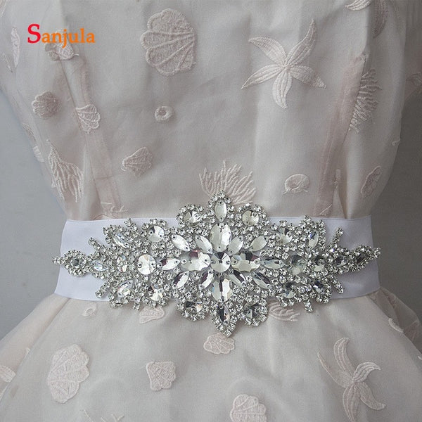 White/Grey/Colorful Beads Dazzling Bridal Wedding Belts with Sashes Handmade High Quality Wedding Accessories B09