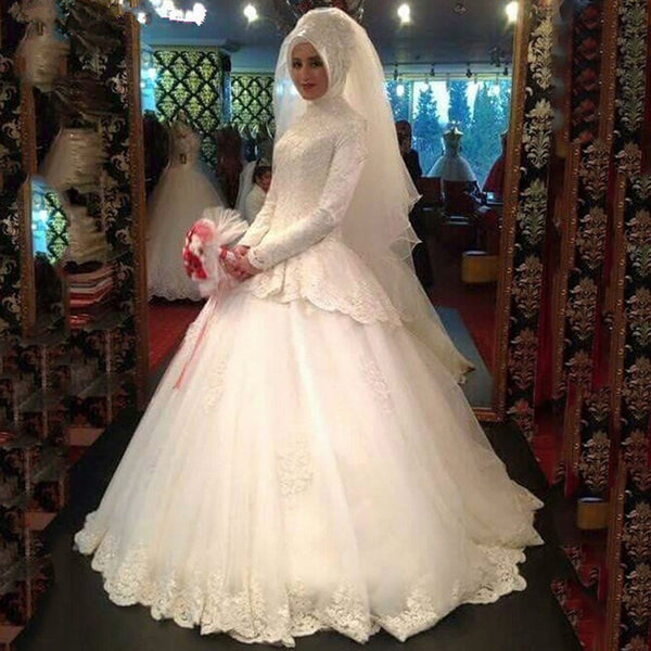 Graceful Long Sleeve Muslim Wedding Dress