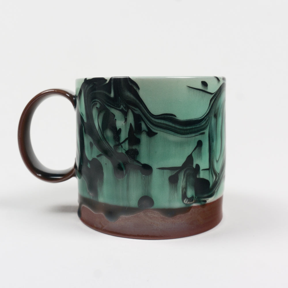 Turquoise Marbleware Cup w Strap Handle
