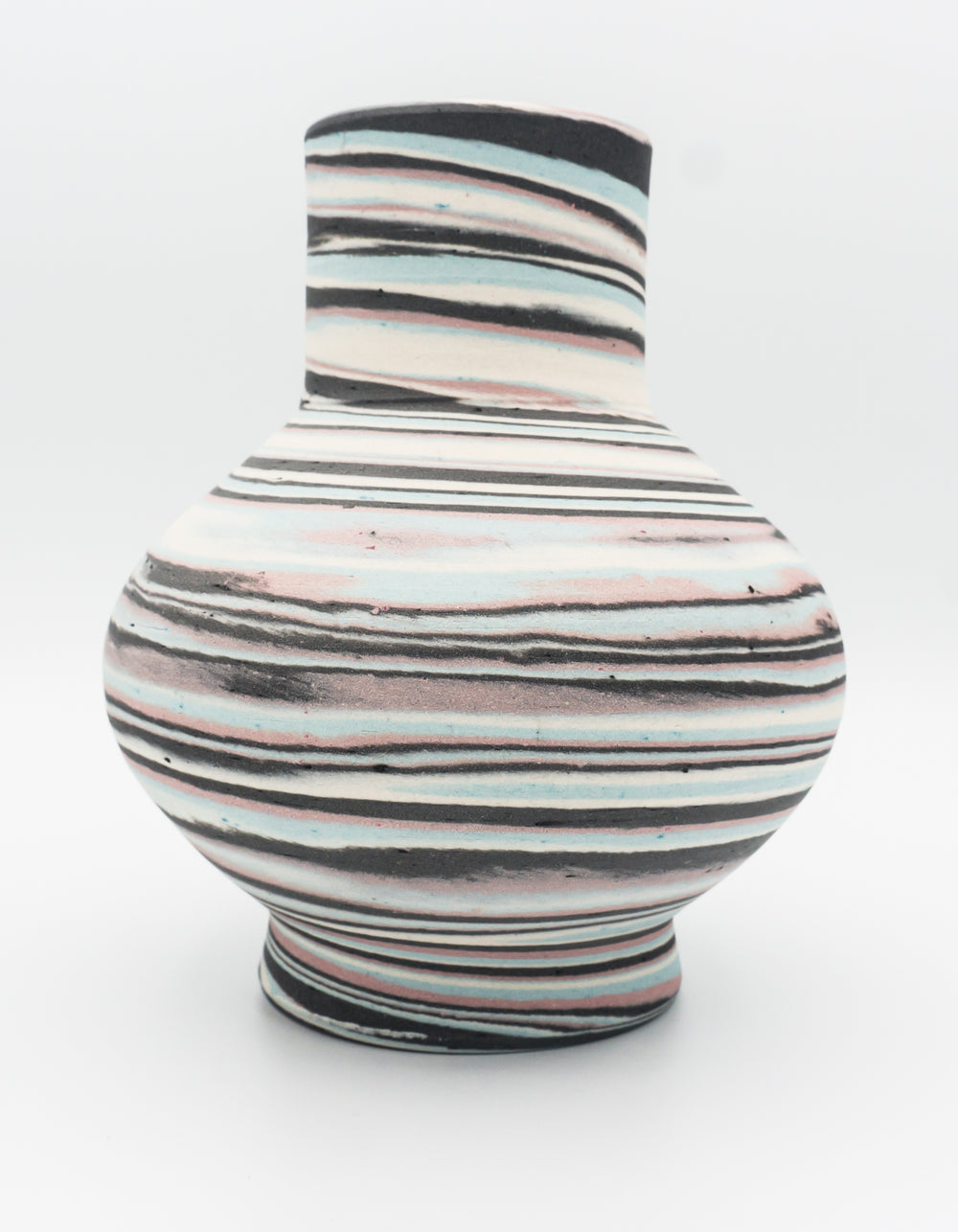 Agateware Bottle Shaped Vase in Pink, Blue, Black & White