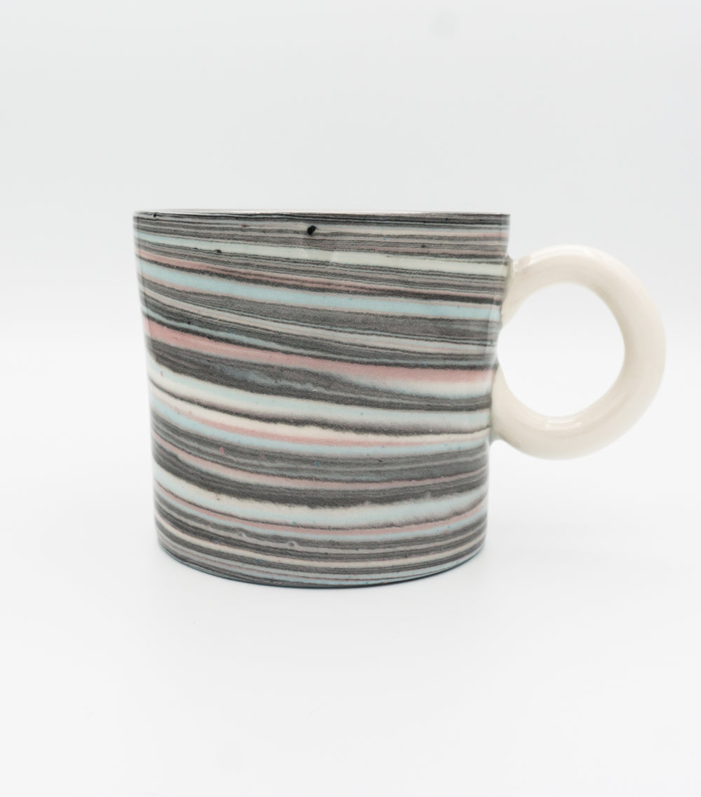 Agateware Mug w Round Handle in Blue, Pink, Black & White