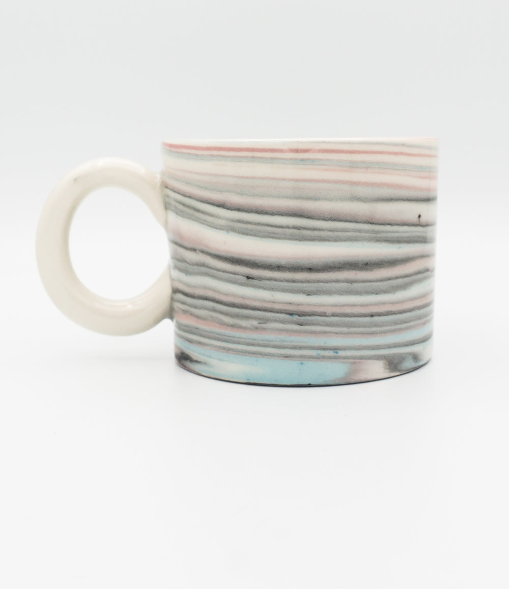 Small Agateware Mug w Round Handle in Blue, Pink, Black & White