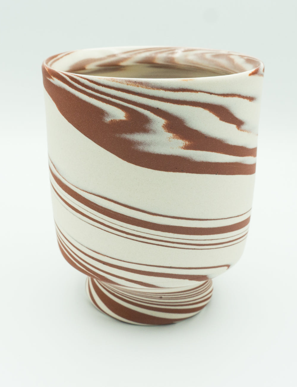 Agateware Tea Bowl in Red Iron Oxide Brown & White