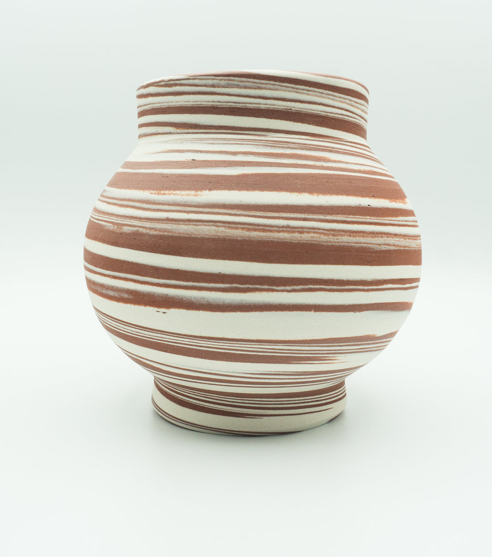 Agateware Tabletop Vase in  Red Iron Oxide Brown & White