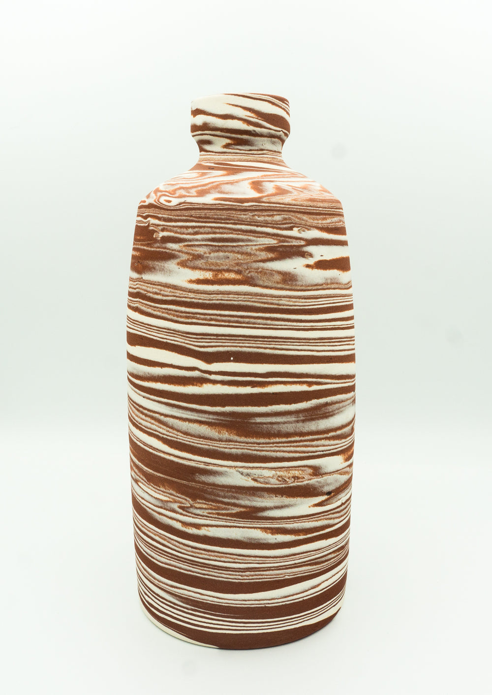 Agateware Tabletop  Bottle Vase in  Red Iron Oxide Brown & White