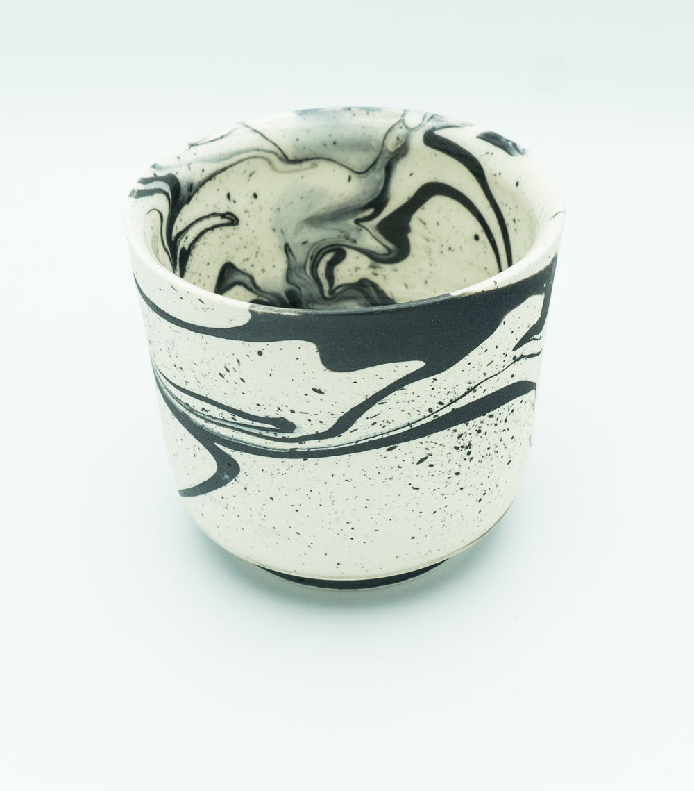Small B & W, Marbleware, Tea Bowl.