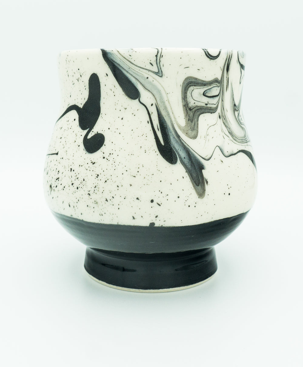 Large B&W, Marbleware, Winter Tea Bowl, Glazed Exterior.