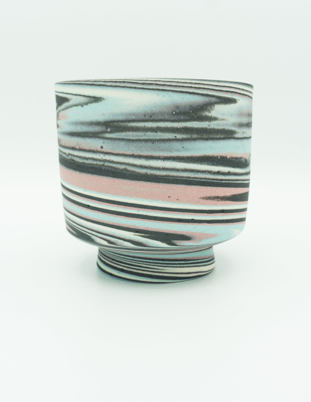 Small Agateware Tea Bowl in Pink, Blue, Black & White