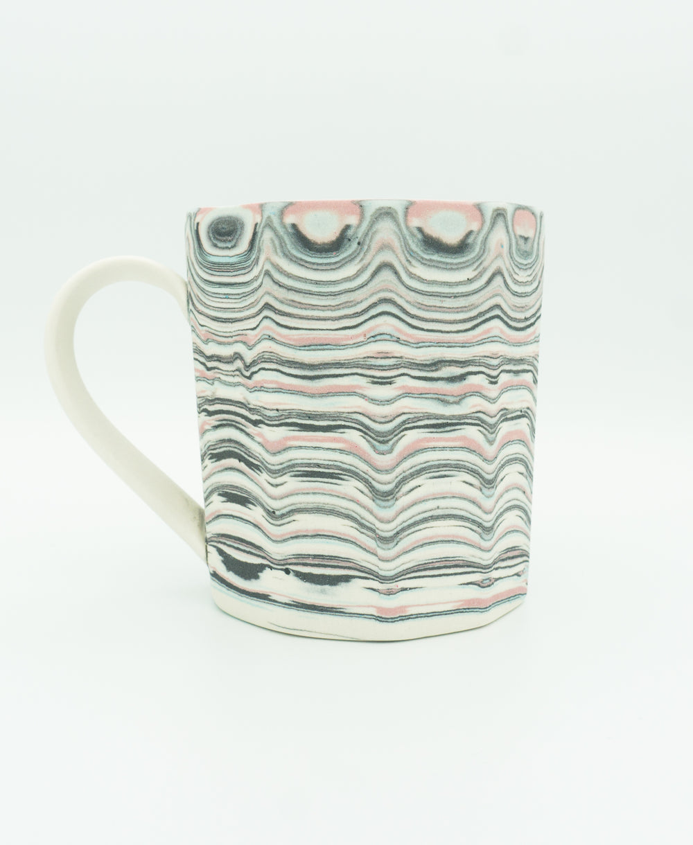 Faceted Agateware Mu w Strap Handle in Unglazed Pink, Blue, Black & White.