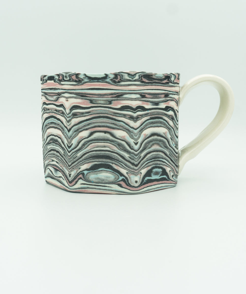 Faceted Agateware Mug w Strap Handle in Unglazed Pink, Blue, Black & White.
