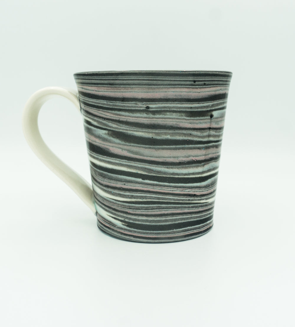 Glazed, Agateware Mug w Strap Handle in Pink, Blue, Black & White.