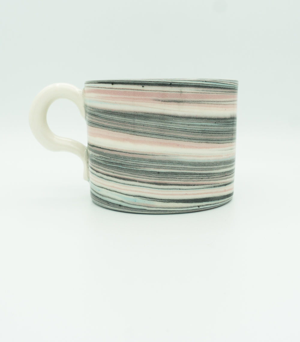 Small, Glazed, Agateware Mug w Strap Handle in Pink, Blue, Black & White.