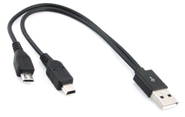 Mini-USB + Micro-USB splitter cable, 6 inches (15cm) long